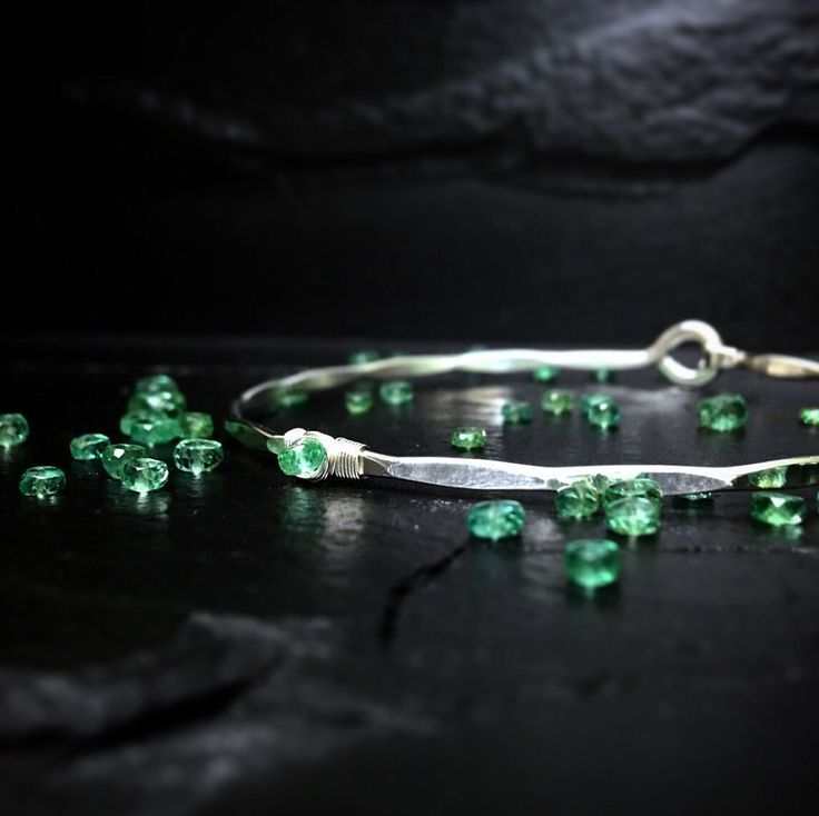 Zambian Emerald Bangle / Genuine Emerald Bracelet / Delicate Gold Bangle / May Birthstone Jewelry /