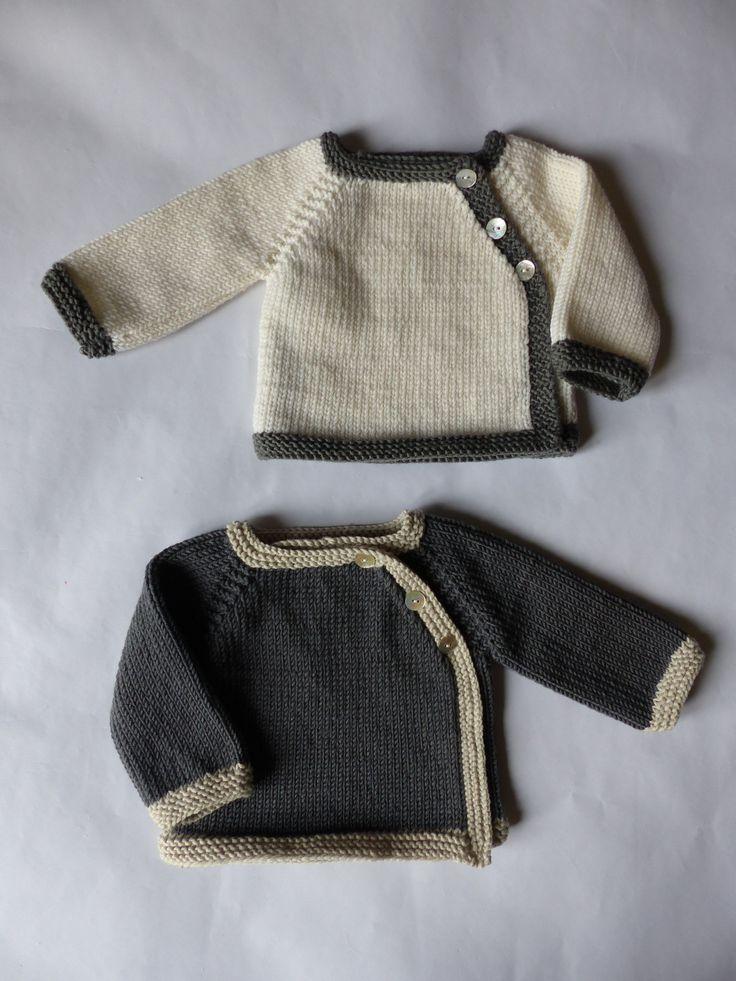 Trousseau naissance: lot de 2 brassières bébé, tricotées en laine mérinos extra douce, lavable machine