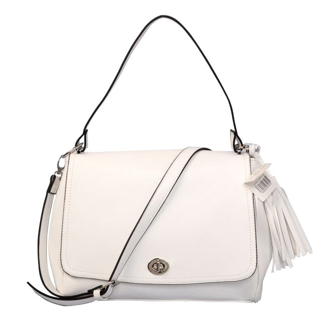 #ShopDesigner Coach Turnlock Medium White Shoulder Bags AYP