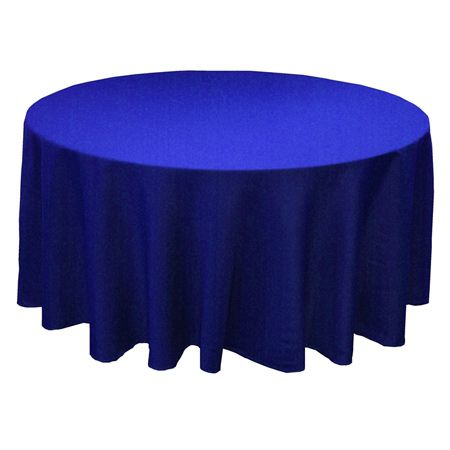 "132"" Round Polyester Royal Blue Tablecloth get fabric swatch/order one to verify color?"