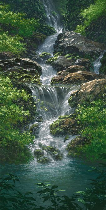 THE SANCTUARY, by Roy Tabora #hawaii #art #waterfall