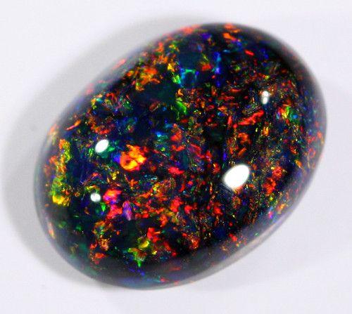 Lighting Ridge Black Opal (Red on Black Opal) - Australia (aka petrified unicorn poop)