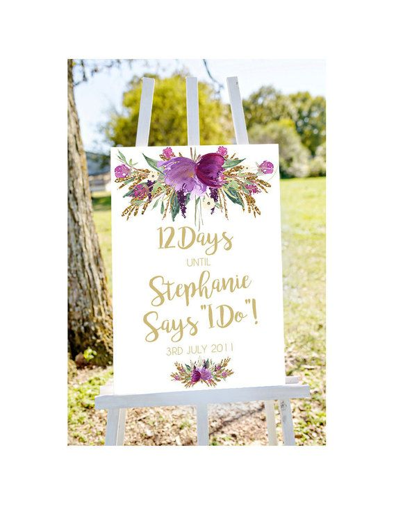 A glint of gold and a splash of violet watercolor. The perfect printable wedding countdown for bridal showers