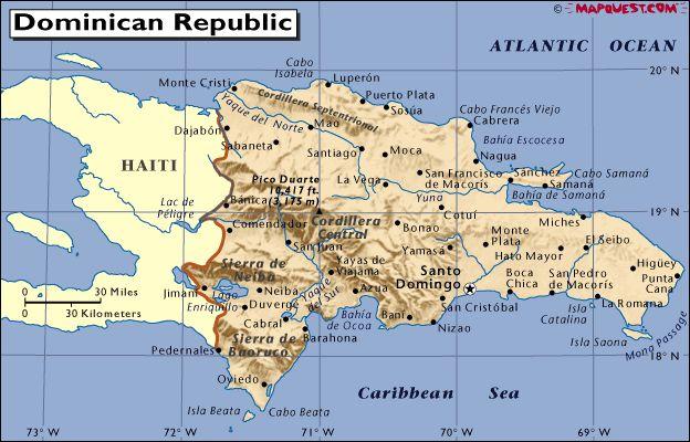 Mapa - Dominikánská republika