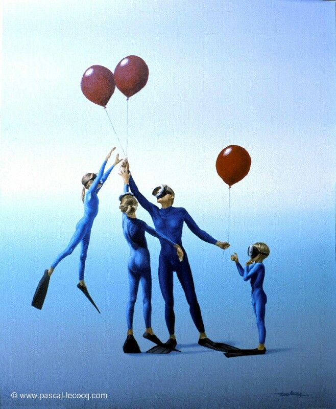 """CHACUN SON BALLON - Each one his own ball- Oil on canvasby Pascal Lecocq, The Painter of Blue ®, 41x33cm, 16""""x13"""", 2002, lec606, priv.coll.©www.pascal-lecocq.com. Published in Neptun (Russia, 2003), Aqua (Ukraina, 2003), Undersea (Russia, 2003),#art #blue #painterofblue#painting #painter #artist"""
