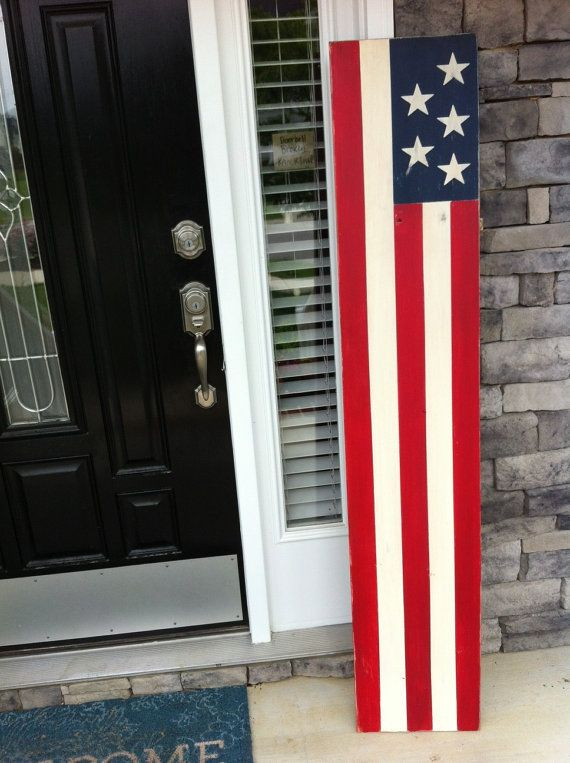 Large American Flag Sign. Rustic Wood Flag Sign.  4th of July sign. Front porch sign. TheArtAndSoulShop on etsy