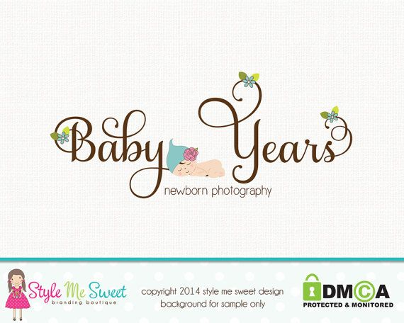 Custom logo premade photography logo newborn logo baby logo design hand drawn small business logo