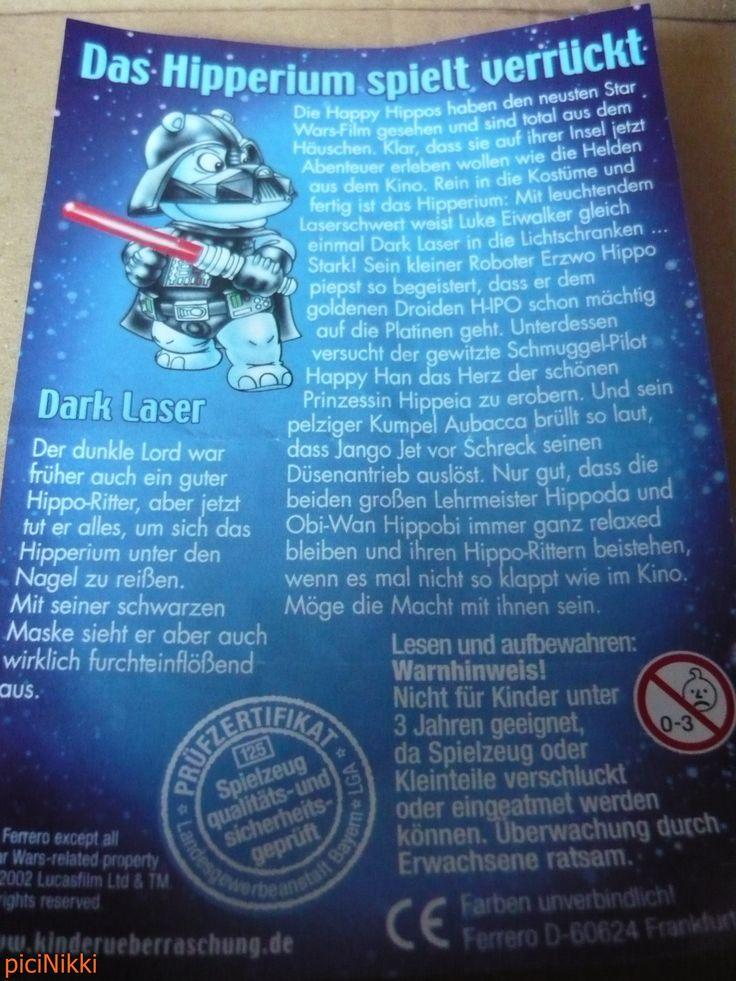 No. 30 | víziló | hippo | Happy Hippo | Kinder | Dark Laser | Star Wars