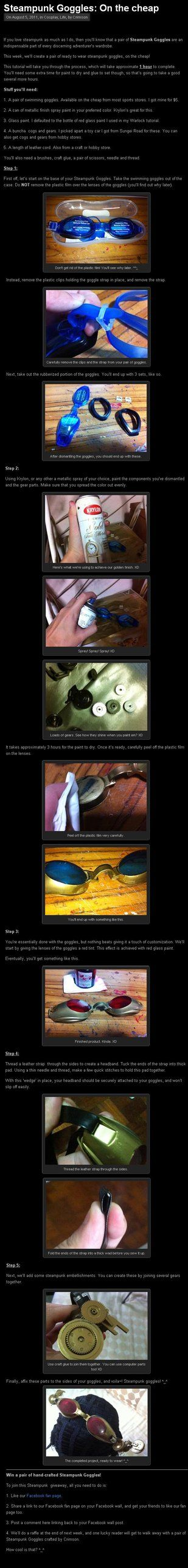 Steampunk Goggles Tutorial by ~Crimson-Shirou. these ones r made using swimming goggles as a base.
