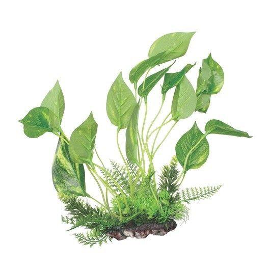 FLUVAL DECOR Anubia Marbled  sobre Base 24cm - #FaunAnimal Crean un hábitat exuberante, de apariencia natural con color añadido, dimensión y movimiento; sin las condiciones o cuidadoespeciales que requieren las plantas vivas.