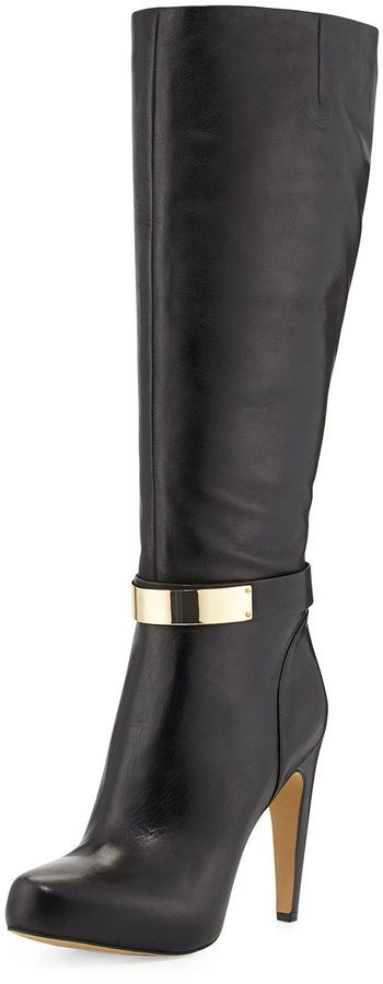 Sam Edelman Klara Golden Plate Detailed Dress Boot, Black on shopstyle.com