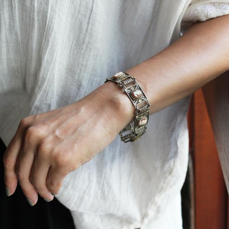 C1930-40s Vintage Italian Cameo Bracelet Silver Filigree / ヴィンテージ・フィルグリー・カメオブレスレット