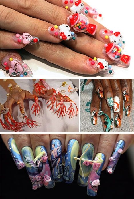 none of these are practical, but all of them are architectural wonders! Congrats to the nail techs who sculpted these!