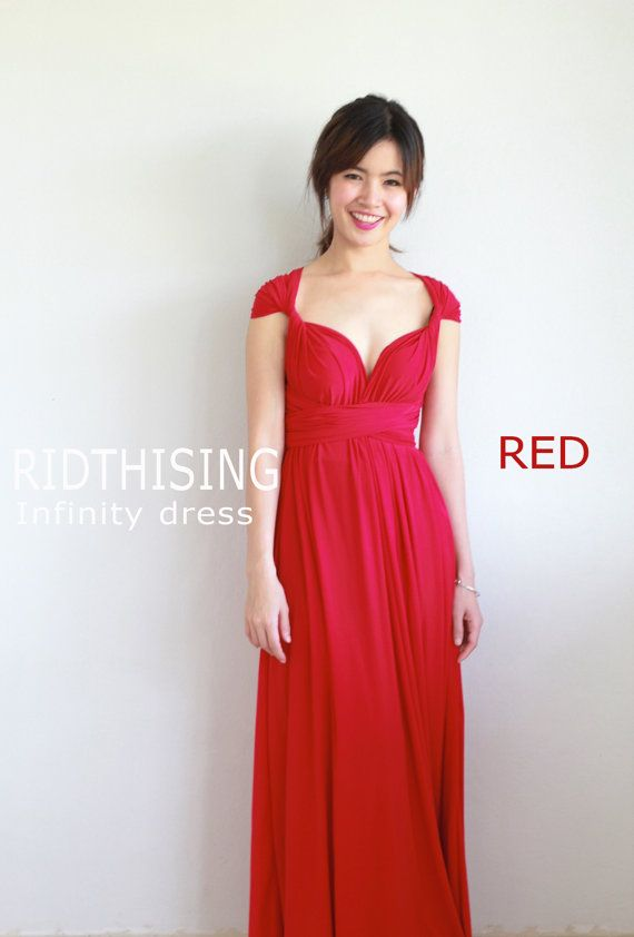 Maxi rot Brautjungfer Kleid Infinity Kleid Abschlussballkleid
