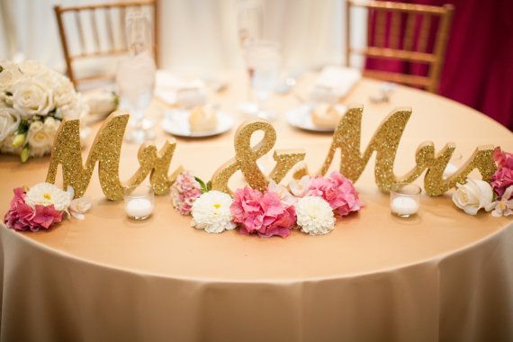 Gold Glitter Mr and Mrs Wedding Signs for Sweetheart Table Decor Wooden Letters, Large Thick Wood Mr & Mrs Sign Set (Item - MTS100)