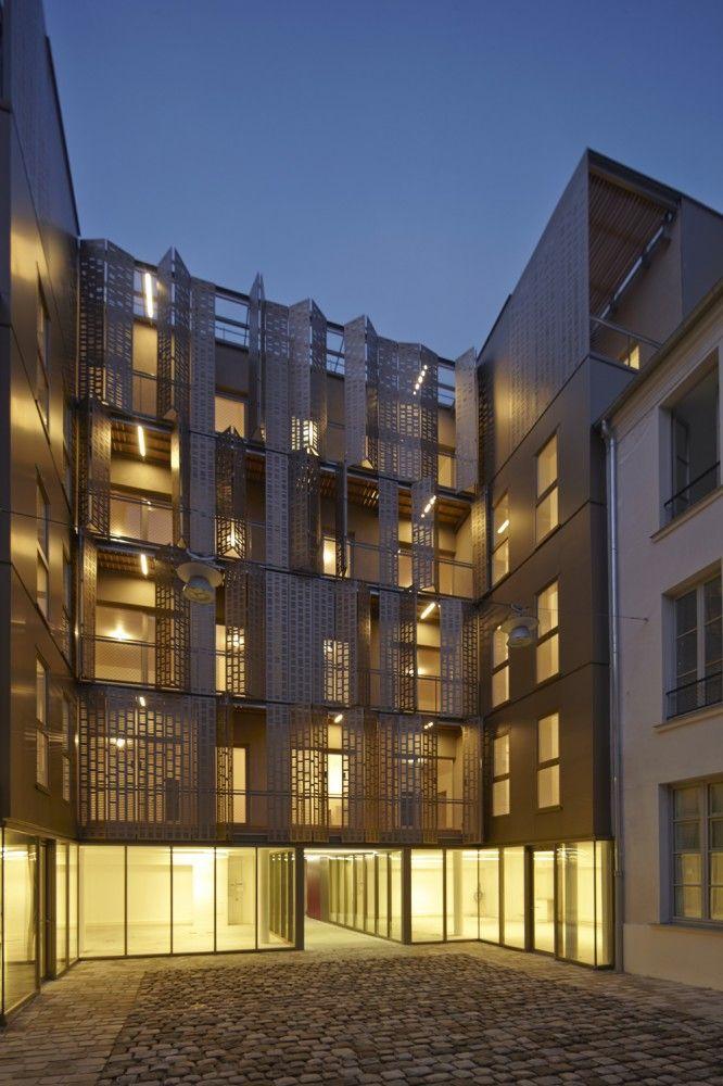 le marais social housing and offices atelier du pont architecture inspiration pinterest. Black Bedroom Furniture Sets. Home Design Ideas