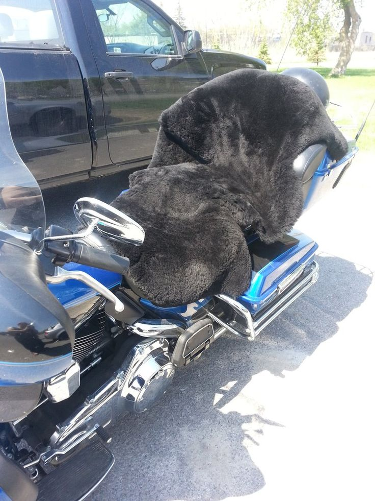 Sheepskin  on a motorcycle, what a great way to keep you comfortable while you ride. They come in all sorts of colours.