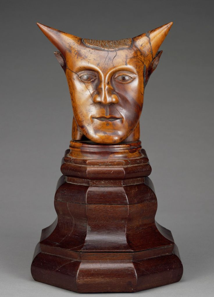 Paul Gauguin: Head with Horns 1895-97, Sandalwood with traces of polychromy on a lacewood base