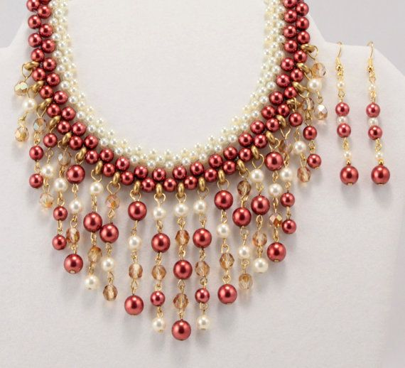 Red Cream Glass Pearl Bead Weaving Egyptian Revival Necklace Earrings Set Vintage Style
