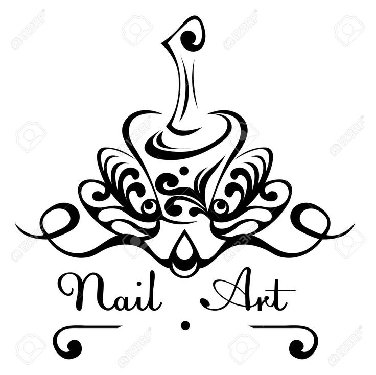 Nail art abstract vector logo bottle of nail polish with a