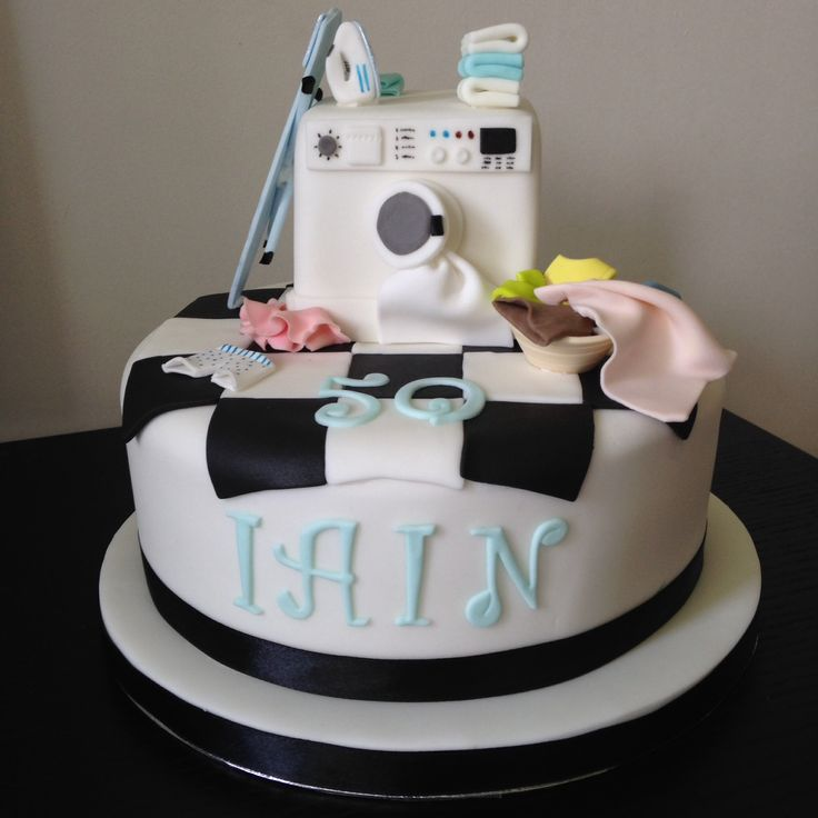 Laundry Birthday Cake With Washing Machine And Ironing