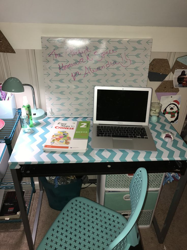 Teen Office - desk covered with chevron contact paper.