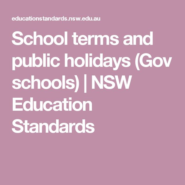 School terms and public holidays (Gov schools) | NSW Education Standards