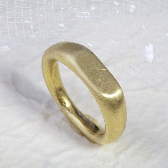 Signet ring-unusual wedding rings in 14K gold unique by mbfjewelry
