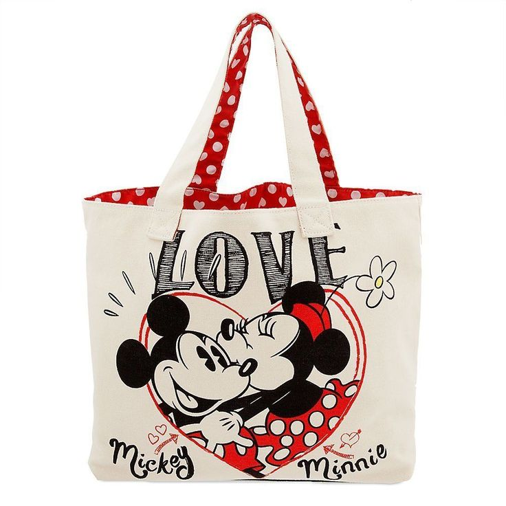 Walt Disney Mickey and Minnie Mouse Canvas Tote Bag Polka Dot Heart Print Lining | Collectibles, Disneyana, Contemporary (1968-Now) | eBay!