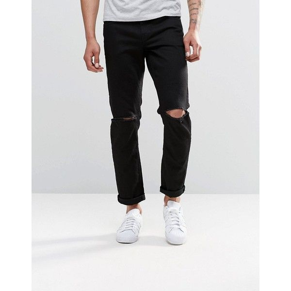 ASOS Stretch Slim Jeans With Knee Rips In Black ($46) ❤ liked on Polyvore featuring men's fashion, men's clothing, men's jeans, black, mens ripped jeans, mens slim jeans, mens destroyed jeans, mens stretch jeans and mens distressed jeans