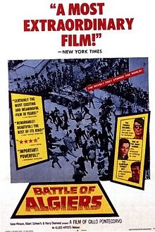 The Battle of Algiers (Arabic: معركة الجزائر‎; French: La Bataille d'Alger; Italian: La battaglia di Algeri) is a 1966 war film based on occurrences during the Algerian War (1954–62) against The French Government in North Africa, the most prominent being the titular Battle of Algiers. It was directed by Gillo Pontecorvo. The film has been critically celebrated and often taken, by insurgent groups and states alike, as an important commentary on urban guerilla warfare.