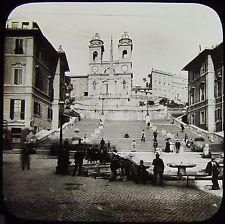 Glass Magic Lantern Slide CHURCH OF ST TRINITA SPANISH STEPS C1890 ROME PHOTO