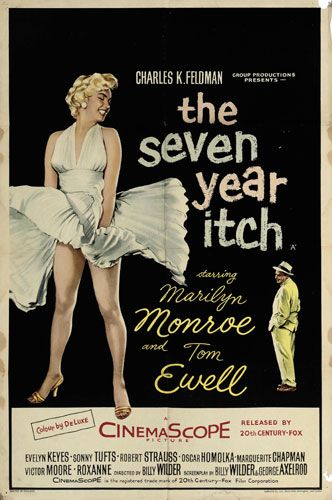 poster for The Seven Year Itch (1955), spotlighting the iconic scene where Marilyn Monroe's skirt floats up as she walks across a New York subway grate.  I was actually a little disappointed at this scene.
