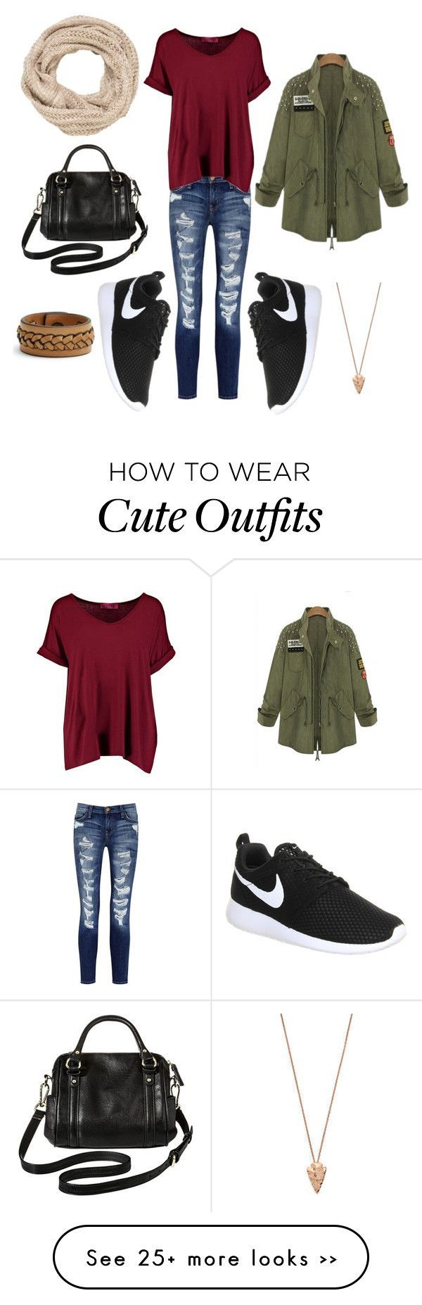 cute but casual day time look  by kaitlynerose on Polyvore featuring Current/Elliott, Boohoo, NIKE, Merona, maurices, Pamela Love and Frye
