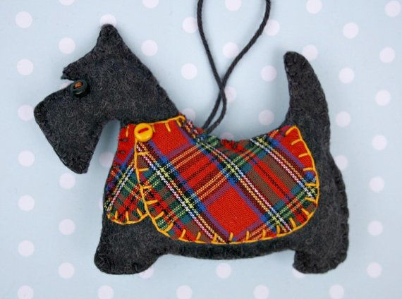 Handmade Scottish terrier ornament with tartan jacket, for Christmas or any occasion. Dougal is made from dark charcoal grey felt, with a jolly