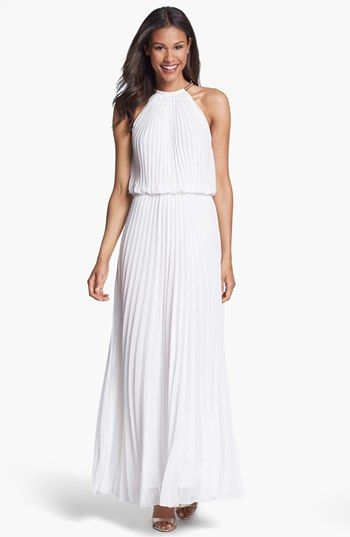 Xscape Pleat Cutaway Blouson Dress available at #Nordstrom - Possible after party dress?