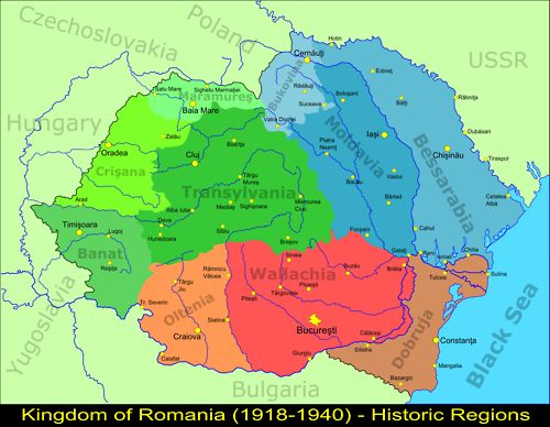 Map of the regions of Greater Romania, 1918-1940