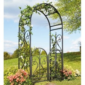 Front gateGardens Arbors, Gardens Ideas, Scrolls Finials, Gardens Arches, Gardens Gates, Steel Scrolls, Black Steel, Latch Gates, Finials Arbors