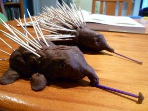 Play dough and toothpick echidnas