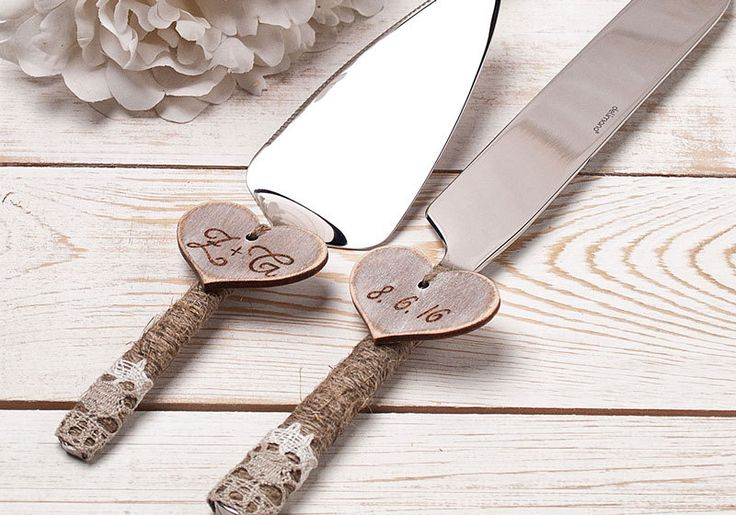 Wedding Cake Server and Knife Cake Serving Set Cutting Set Rustic Knife Set Personalized Rustic Wedding Cake Server Set by InesesWeddingGallery on Etsy