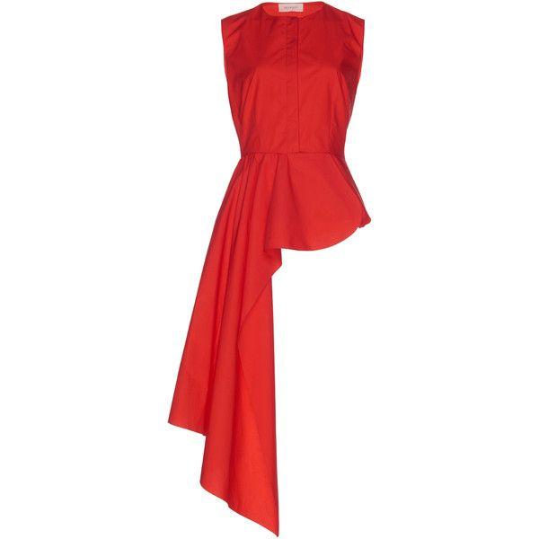 Asymmetrical Peplum Shirt | Moda Operandi ($1,180) ❤ liked on Polyvore featuring tops, red top, asymmetrical shirts, peplum shirt, asymmetrical tops and red peplum shirt
