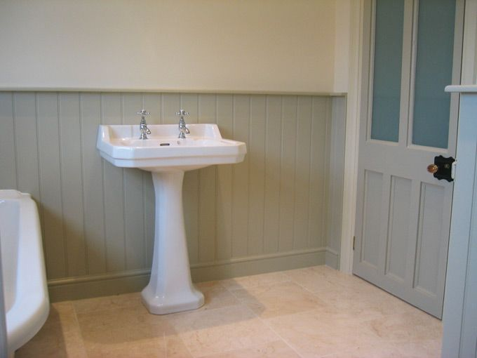 Painted T&G panelling in the bathroom