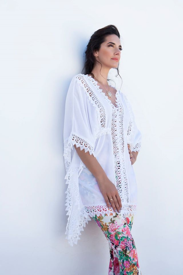 Noni Dounia wearing Celestino tounic.