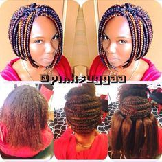 When you have long hair but still want short braids. Try crochet braids like these:-)  Follow for more styles www.yeahsexyweaves.tumblr.com