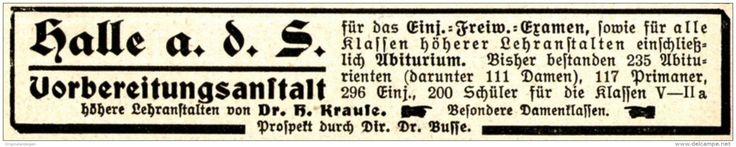 Original-Werbung/ Anzeige 1915 - VORBEREITUNGSANSTALT /  HALLE AN DER SAALE - ca. 115 x 20