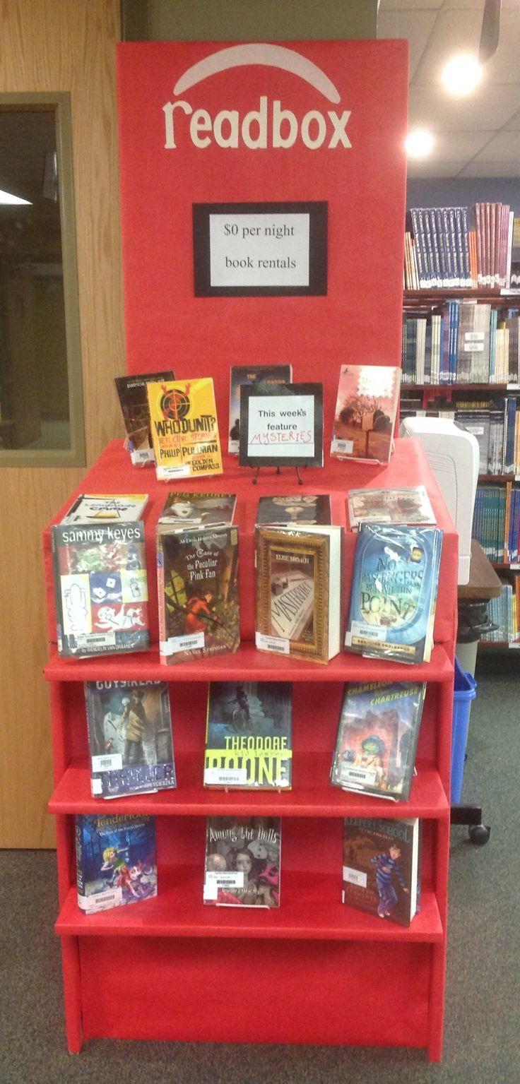 #library ideas, #readbox book display. #elementary school library book displays.This weeks featured display is the mystery genre.