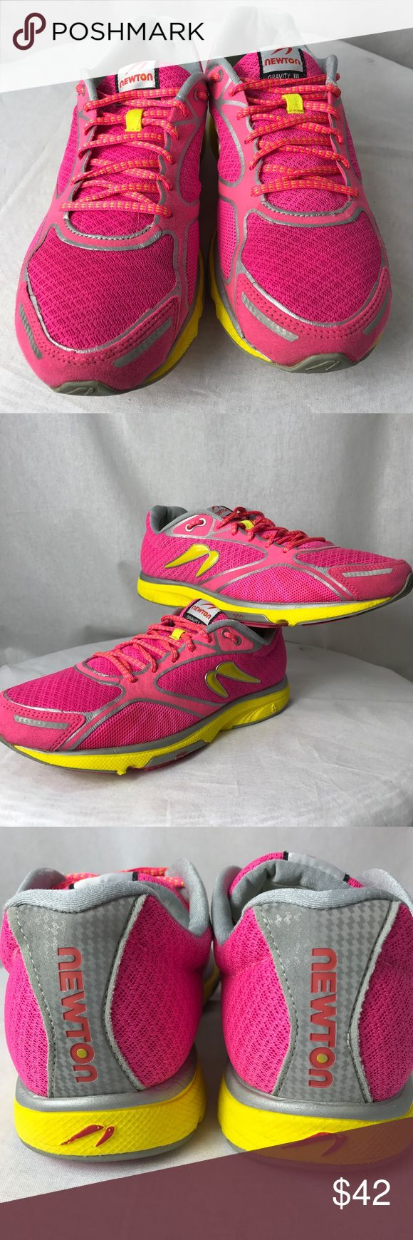 Newton Running Shoe• SZ10.5 Quality Running shoe cool colors of hot pink and yellow. Clean and good sole/ tread. Logo going up the back of heel. Newton Shoes Athletic Shoes