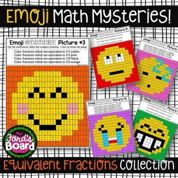 Emoji Equivalent Fractions Mystery Pictures (use for equivalent ratios)