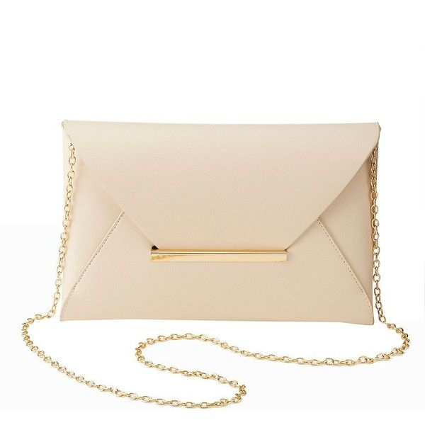 Charlotte Russe Convertible Envelope Clutch ($12) ❤ liked on Polyvore featuring bags, handbags, clutches, nude, faux leather purses, convertible handbag, envelope clutch bags, pink handbags and nude clutches