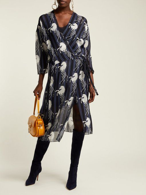 66d2b55bd7 Little Horses-print silk-georgette wrap dress | Chloé ...